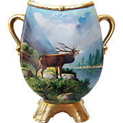"Fabulous MR France & Whites Art Co. of Chicago 1914 Hand Painted ""Large Bull Elk Bellowing"" Pedestal Scenic Vase by the Artist, ""RvJ"""