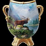 "Fabulous MR France & Whites Art Co. of Chicago 1914 Hand Painted ""Large Bull Elk Bellowing"" Pedestal Scenic Vase by the Artist, ""RvJ"""