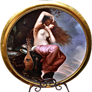 """Spectacular Museum Quality Limoges France Early 1900's Massive """"Portrait of A Red Haired Nude Maiden"""" 18"""" Scenic Plaque"""