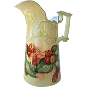 "Attractive Bavaria 1900's Hand Painted Fancy ""Strawberry"" 6-3/4"" Fruit Pitcher by the Artist, ""Rita Bower"""