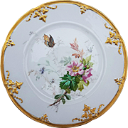 "Charming Vintage 1900 Limoges France Hand Painted ""Wild Pink Roses With Butterfly"" 8-1/2"" Floral Plate"