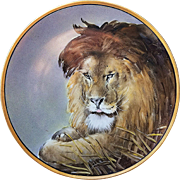 "Spectacular & Scarce JC Bavaria  & Osborne Studio of Chicago 1914 Hand Painted Magnificent ""Lion"" 10"" Scenic Plate by the listed Artist, ""Asbjorn Osborne"""