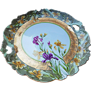 "Outstanding Bavaria 1900's Hand Painted ""Purple & Yellow Iris"" 11"" Open Handle Floral Plate"