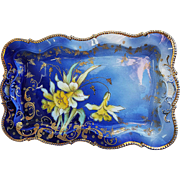 "Gorgeous RS Prussia 1900's ""Yellow Jonquils""  11-1/2"" Cobalt Blue Floral Dresser Tray"