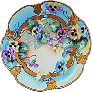 "Beautiful H & Co. Bavaria 1900's Hand Painted ""Purple, Yellow, & Blue Pansy"" 10"" Floral Plate by the Artist, ""L. Burroughy"""