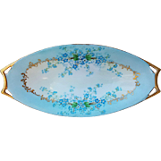 "Beautiful JR Bavaria 1900's Hand Painted ""Forget Me Not"" 9-1/4"" Floral Tray by the Pickard Artist, ""Minnie Luken"""