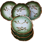"""Gorgeous Imperial Austria 1900's """"Christmas Holly & Berry"""" Set of 6 Berry Plates"""