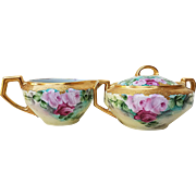 "Exceptional H & Co. Bavaria 1900's Hand Painted Vibrant ""Red & Pink Roses"" Heavy Gilded Gold Floral Sugar & Creamer"
