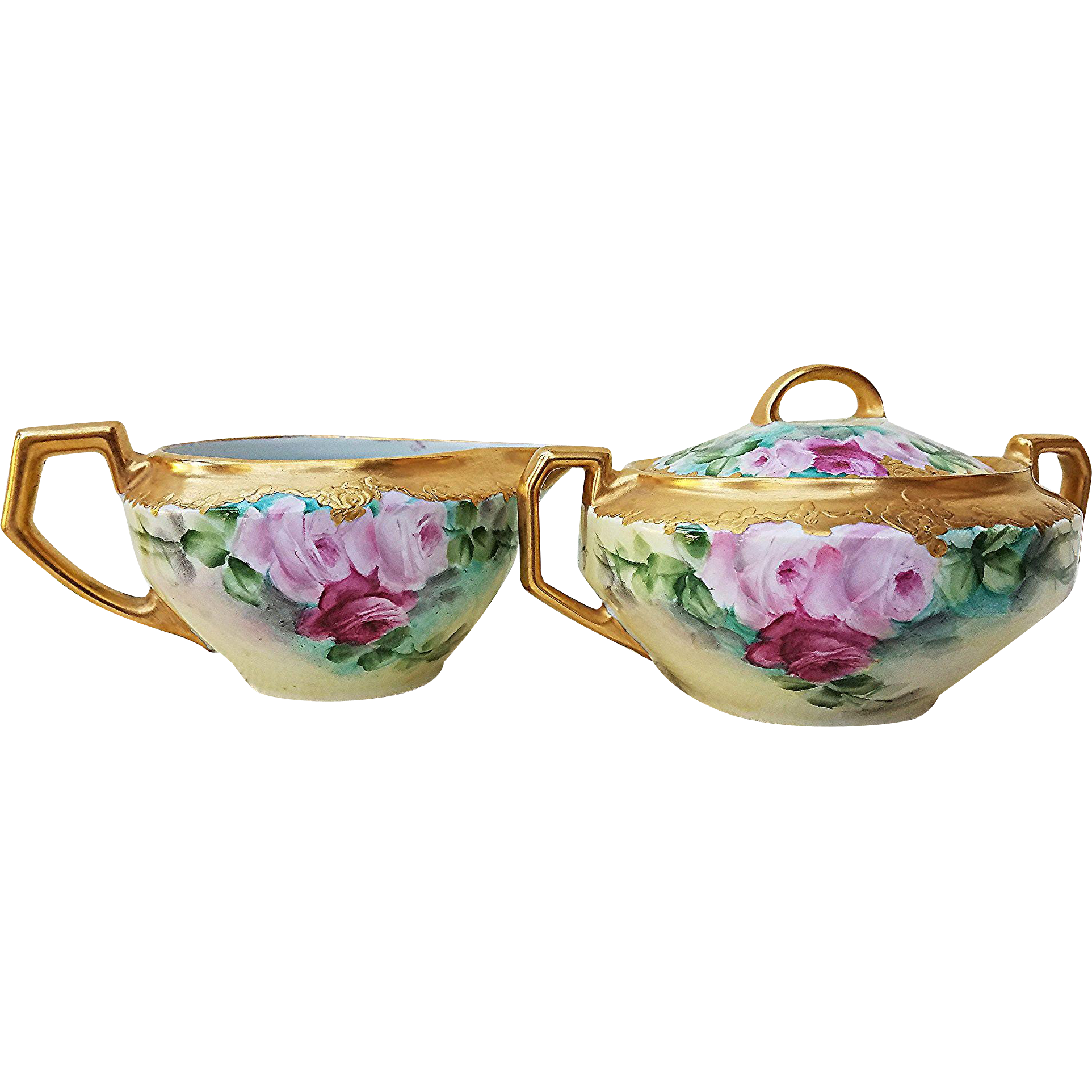 """Exceptional H & Co. Bavaria 1900's Hand Painted Vibrant """"Red & Pink Roses"""" Heavy Gilded Gold Floral Sugar & Creamer"""