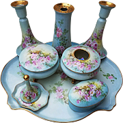 "Magnificent Limoges France 1912 Hand Painted ""Petite Wild Pink Roses"" 12 Pc Dresser Set by the Listed Artist, ""E. Heimerdinger"""