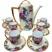 """Phenomenal Rosenthal Bavaria 1900's Hand Painted Vibrant """"Red & Pink Roses"""" 14 Pc Floral Tea Set"""