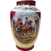 "Striking Vintage 1900's ""Napoleon Reviewing the Imperial Guard at the Bataille de Jena"" Scenic & Holly Berry Vase Signed ""Vernet"""