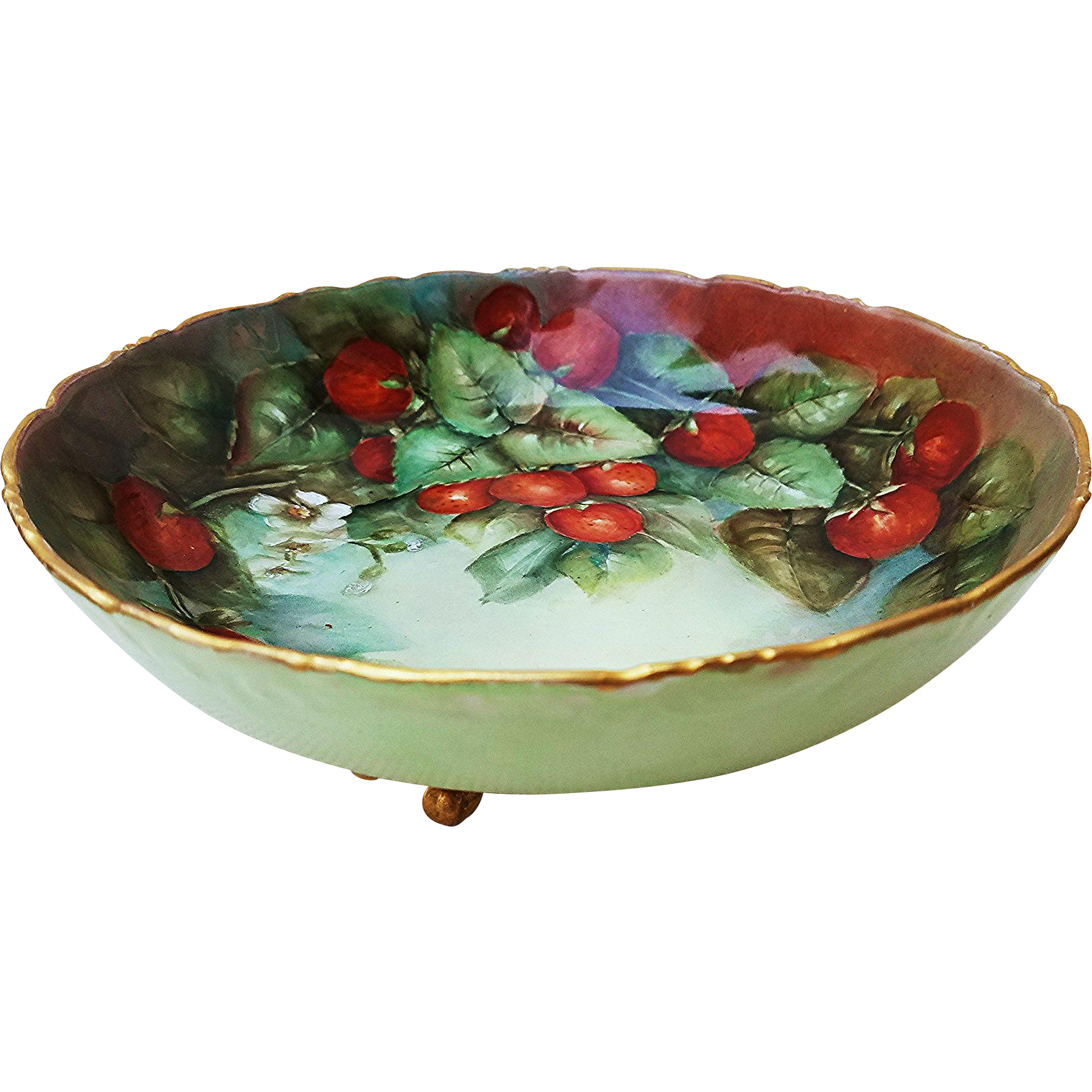 "Attractive Limoges France 1900's Hand Painted ""Strawberry"" 8-1/2"" 3-Footed Fruit Decor Bowl"