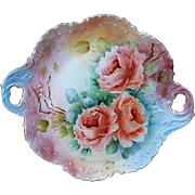 "Fabulous Limoges 1900's Hand Painted Large Lifelike ""Peach Roses"" 12-5/8"" Floral Plate by the Artist, ""Jolly Irvin"""