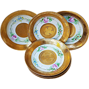 "Hutschenreuther Selb Bavaria 1900's Hand Painted Set of 6 ""Roses, Violets, & Daisies"" 7-7/8"" Floral Shallow Bowl with Heavy Etched Floral Gold Decor"