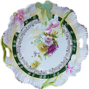 "Gorgeous RS Prussia 1900's Hidden Image With Purple, Yellow, & White Mums 11"" Scenic & Floral Plate"