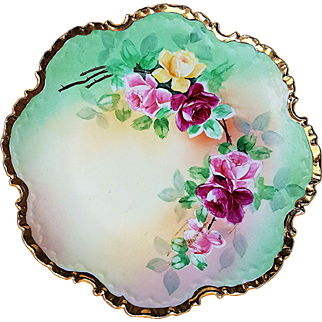 """Beautiful Rosenthal Bavaria 1900's Hand Painted """"Red, Pink, & Yellow"""" 8"""" Floral Plate"""