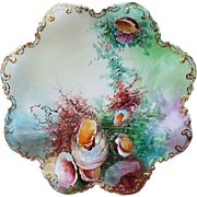 "Beautiful GDA France Limoges 1900's Hand Painted ""Sea Life"" 8-1/2"" Fancy Scallop Scenic Plate by Artist, ""J. Schmidt"""
