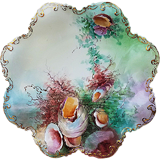 """Beautiful GDA France Limoges 1900's Hand Painted """"Sea Life"""" 8-1/2"""" Fancy Scallop Scenic Plate by Artist, """"J. Schmidt"""""""