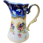 "RS Prussia 1900's ""Pansy, Mums, & Daisies Flowers"" Cobalt Blue Floral Chocolate Pot"