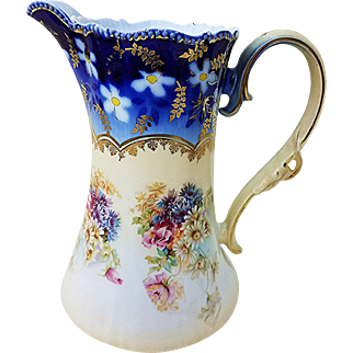 """RS Prussia 1900's """"Pansy, Mums, & Daisies Flowers"""" Cobalt Blue Floral Chocolate Pot"""