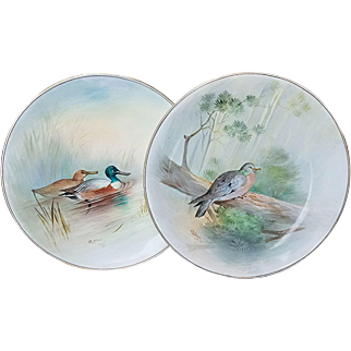 """Beautiful Royal Doulton 1902 Hand Painted """"Stock Dove"""" and """"Shoveller"""" 9-1/2"""" Pair of Game Bird Plates by the Artist, """"C. Hart"""""""