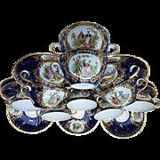 Exquisite Karl Richard Klemm Dresden 1900 Hand Painted Set of Eleven Cobalt Blue Portrait Bouillon Cups & Saucers