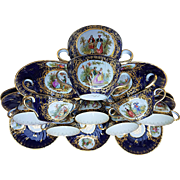 Exquisite Karl Richard Klemm Dresden 1900 Hand Painted Set of Eleven Cobalt Blue Portrait Bouillon Cups & Saucers
