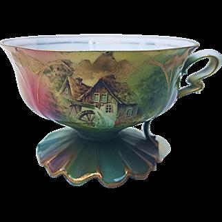 "Beautiful RS Prussia 1900's ""Cottage Scene"" Portrait Pedestal Cup"