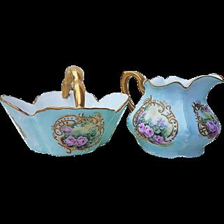 "Gorgeous Bavaria 1900's Hand Painted ""Petite Pink Roses"" Floral Creamer & Sugar Basket"