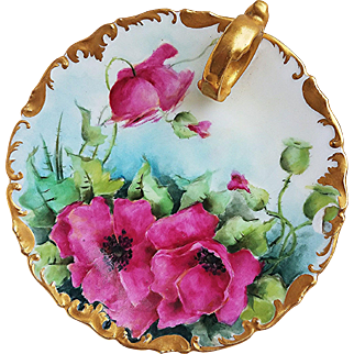 """Spectacular T & V Limoges France Vintage 1900's Hand Painted Vibrant """"Red-Pink Pansy"""" Rococo Style Floral Nappy"""