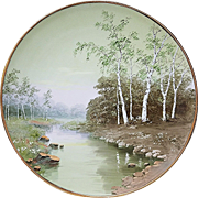 "Fabulous D & B Germany 1900 Hand Painted Scenic ""Woodland & Brook"" 13"" Charger"