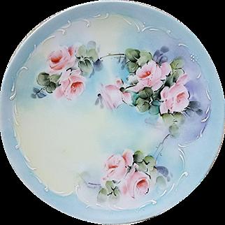 "Wonderful Vintage Thomas Sevres Bavaria 1900's Hand Painted ""Pink Roses"" Floral Plate"