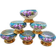 "Outstanding O.E.& G Royal Austria 1900's Hand Painted ""Pink Roses"" Set of 6 Floral Pedestal Salt Dips"