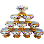 "Spectacular Royal Austria 1900's Hand Painted ""Red & Pink Roses"" Set of 10 Floral Pedestal Salt Dips by the Artist, ""L.H.M."""