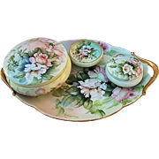 "Spectacular 1900's T & V Limoges 1900's Hand Painted ""Peach & White Roses"" 4-Pc Dresser Set by the Artist, ""Ester Miler"""