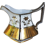"""Gorgeous T & V Limoges & J.H.Stouffer Studio 1906 Hand Painted """"Gold & Platinum"""" 8"""" Six Sided Floral Cider Pitcher by the Listed Artist, """"Kind"""""""