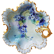 "Beautiful Bavaria 1900's Hand Painted ""Violets"" Fancy Scallop 8-1/4"" Floral Nappy by the Artist, ""Floretts"""