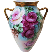 "Gorgeous Vintage 1900's Hand Painted ""Red & Pink Roses"" 8-3/8"" Floral Vase by the Artist, ""J. Reynolds"""