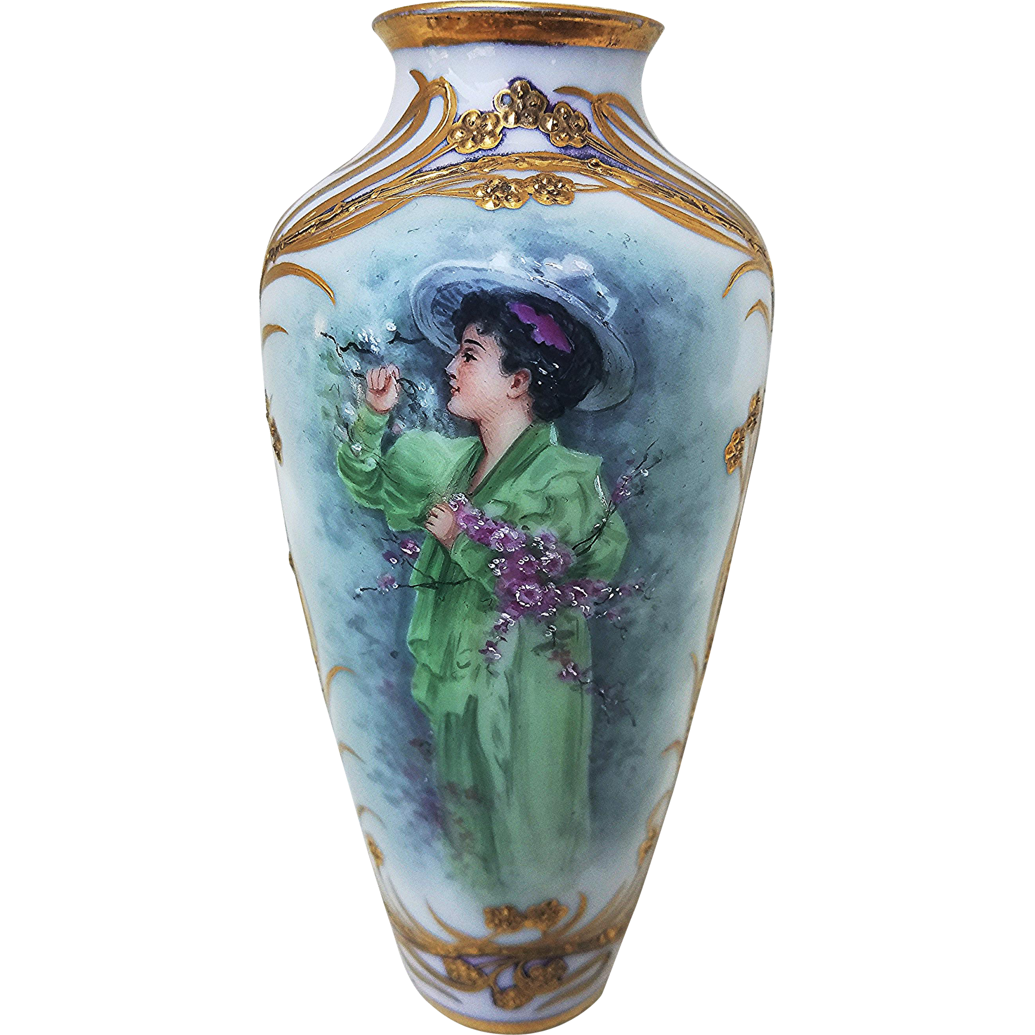 "Beautiful Richard Klemm Dresden 1900 Hand Painted Scene of ""A Victorian Lady With a Bouquet of Flowers"" 6-3/8"" Portrait Vase"