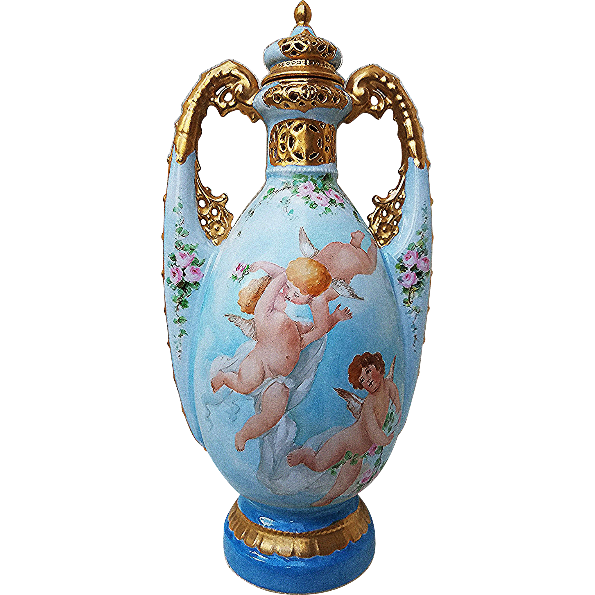 "Stunning France 1900 Hand Painted ""3 Frolicking Cherubs & Pink Petite Roses"" 12-3/8"" Potpourri Vase by the Artist, ""T. Bloehr"""