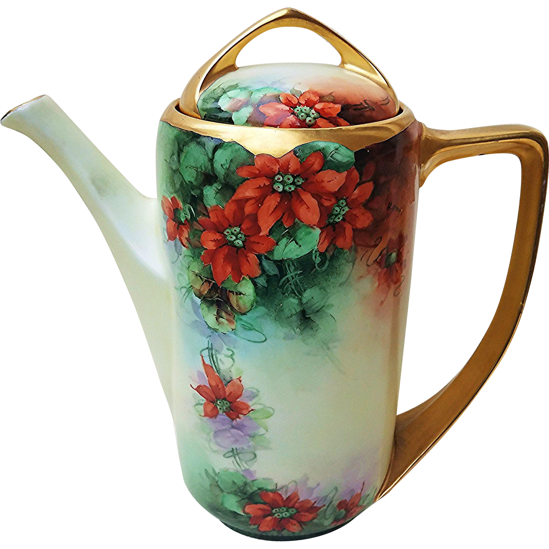 "Exquisite Rosenthal Selb Bavaria 1914 Hand Painted ""Christmas Poinsettia"" Floral Coffee Pot by the Listed Artist, ""Helga Ong"""