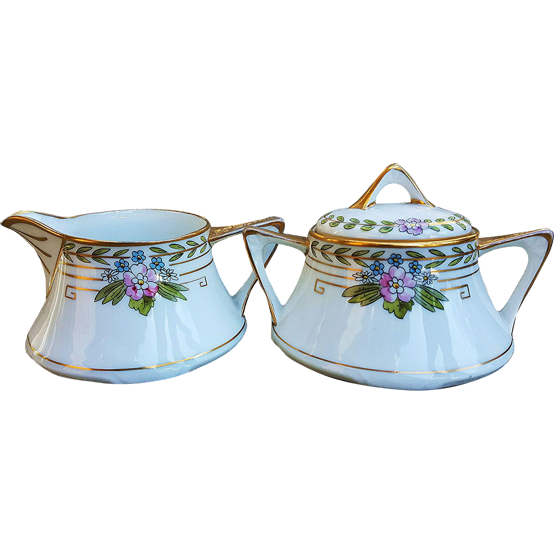 "Attractive Pickard Studio of Chicago 1912 Hand Painted ""Wild Flowers"" Floral Sugar & Creamer Set"