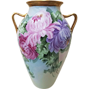 "Gorgeous Vintage 1915 Hand Painted ""Red, Pink, & Purple Mums"" 8-3/8"" Floral Vase by the Artist, ""May. Reynolds"""