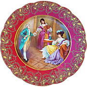 "Exquisite Sevres France Pre-1850 Hand Painted ""Gentlemen & 2 Ladies"" 10"" Scenic Plate in Red by the Artist, ""De Nerval"""