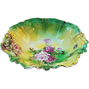 """Gorgeous Vintage RS Prussia 1900's """"Red & Pink Roses"""" 10-3/4"""" Floral Bowl"""