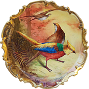 "Outstanding Coronet Limoges France 1900's Hand Painted ""2 Grouse & European Pheasant"" 13-1/4"" Scenic Rococo Charger by Listed French Artist, ""A. Broussilan"""