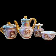 "Fabulous Sevres France Pre-1800 Hand Painted ""Portrait of Maidens"" Six Piece Scenic Tea Set"