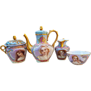"Fabulous Sevres France Pre-1800 Hand Painted ""Portrait of Maidens"" Six Piece Scenic Tea Set"
