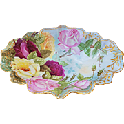 "Wonderful J.P.L. France Limoges 1900's Hand Painted ""Deep Red, Pink, & Yellow Roses"" 12"" Floral Bowl"